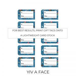 Yiv a Face gift tags sheet