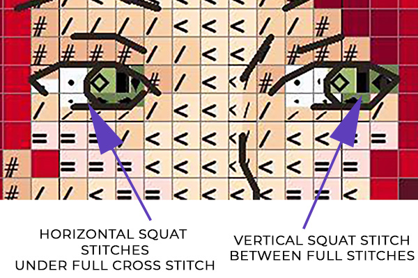 Squat stitch chart detail