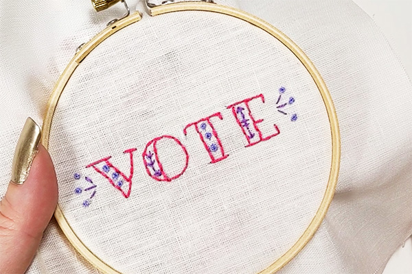 Vote: free hand embroidery pattern and tutorial