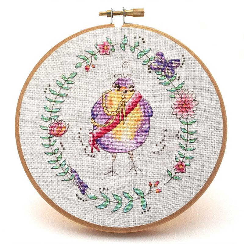 General Flapalot cross stitch pattern hoop