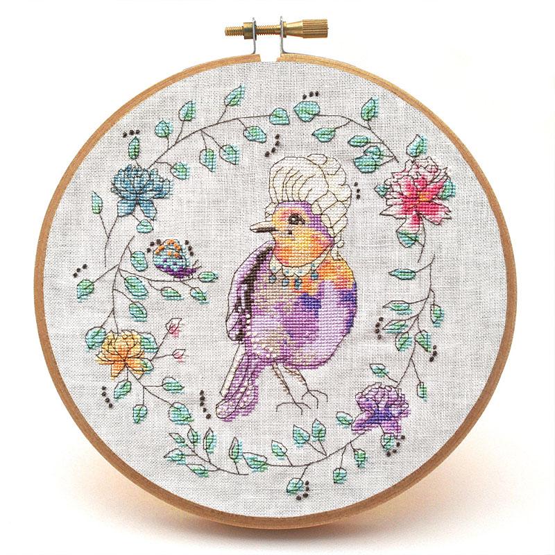 Marie LaTweetonette cross stitch pattern hoop