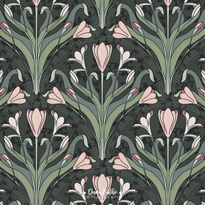 Art-Nouveau-Crocuses-surface-pattern-design