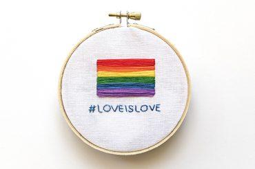 Pride flag: learn satin stitch & backstitch