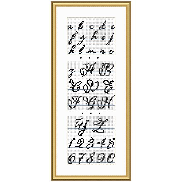 Small script cross stitch pattern