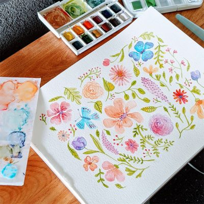 Vibrant Floral Patterns with Watercolors