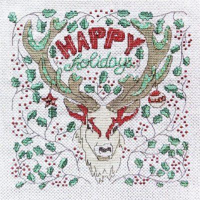 Happy Holidays Deer cross stitch pattern