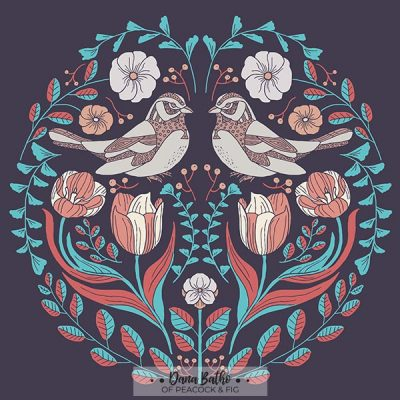 Folk Birds illustration teal terracotta