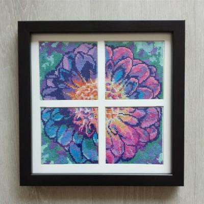 Solarize Dahlia - full framed cross stitch pattern