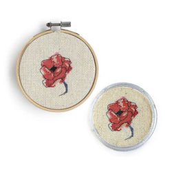 French poppy shop cross stitch coaster pattern
