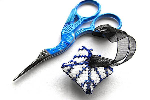 cross stitch scissor fob back