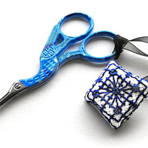 cross stitch scissor fob front