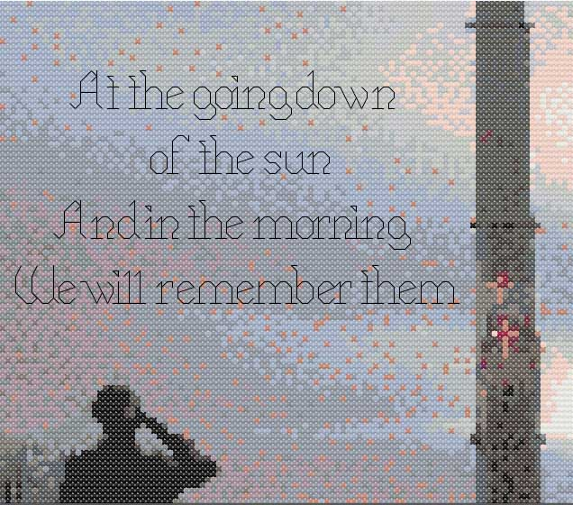 For the Fallen cross stitch pattern detail