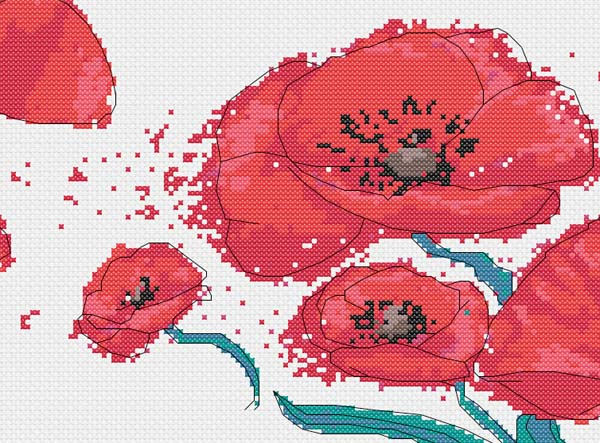 Poppies in the wind cross stitch pattern detail