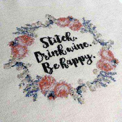 Stitch Drink Wine inspirational cross stitch pattern