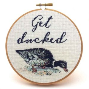 Get Ducked subversive cross stitch pattern funny needlepoint