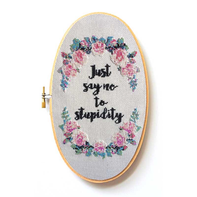 Just Say No funny cross stitch pattern