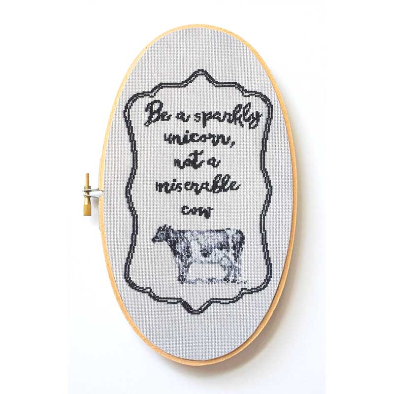 Miserable Cow funny cross stitch pattern