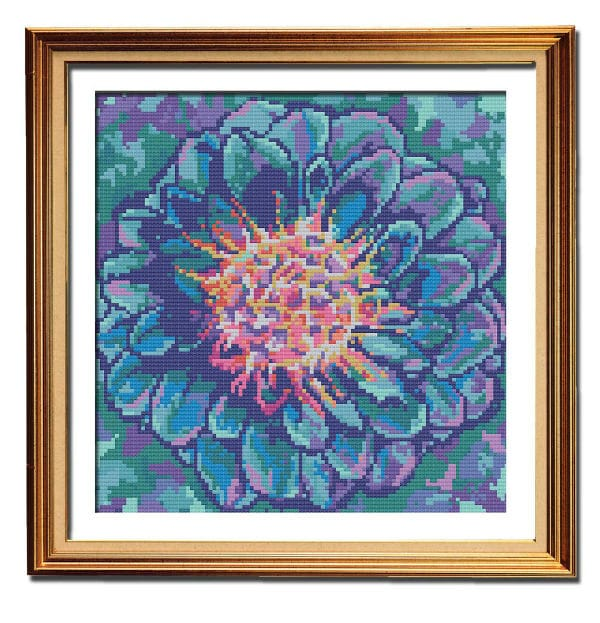 Blue Dahlia counted cross stitch chart framed
