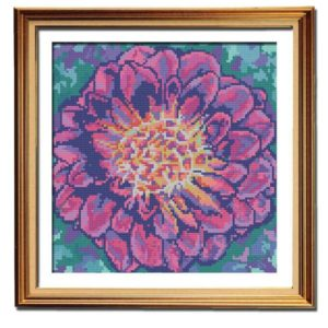 Fuchsia Dahlia flower cross stitch pattern framed