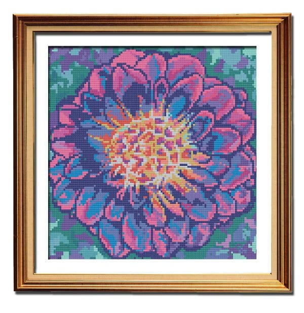 Pink Marbled Dahlia flower cross stitch pattern framed