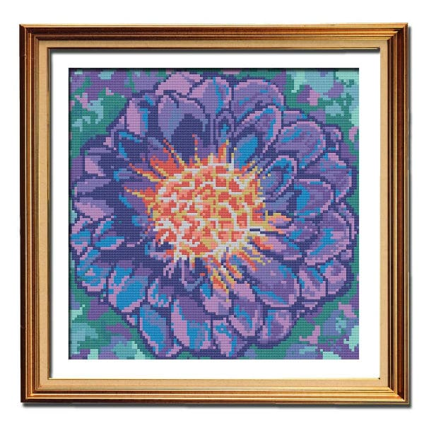 Purple Dahlia cross stitch pattern flower framed